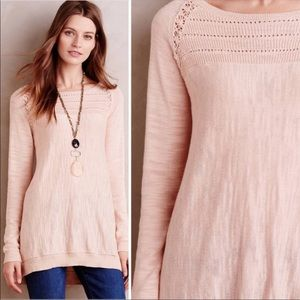 Anthropologie Knitted & Knotted Pink Slub Sweater